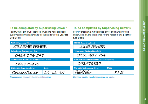 Vicroads learner log book supervisor page completed correctly